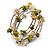 Olive Green/ Natural Shell Nugget Multistrand Coiled Flex Bracelet in Silver Tone - Adjustable