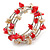 Red/ Natural Shell Nugget Multistrand Coiled Flex Bracelet in Silver Tone - Adjustable