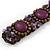 Small Handmade Semiprecious Stone, Ceramic Stone Woven Bracelet - 15cm Long (Brown, Bronze, Purple, Amethyst) - view 4