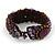 Small Handmade Semiprecious Stone, Ceramic Stone Woven Bracelet - 15cm Long (Brown, Bronze, Purple, Amethyst) - view 6