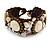 Small Handmade Sea Shell, Ceramic Stone Woven Bracelet - 15cm Long (Brown, Bronze, Antique White) - view 3