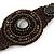 Handmade Bronze/ Black Bead, Shell Brown Cotton Cord Bracelet - For Small Wrists - 15cm Long - view 3