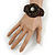 Handmade Bronze/ Black Bead, Shell Brown Cotton Cord Bracelet - For Small Wrists - 15cm Long - view 2