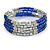 Electric Blue Glass Silver Acrylic Bead Multistrand Coiled Flex Bracelet Bangle - Adjustable - view 3