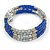 Electric Blue Glass Silver Acrylic Bead Multistrand Coiled Flex Bracelet Bangle - Adjustable - view 4