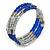 Electric Blue Glass Silver Acrylic Bead Multistrand Coiled Flex Bracelet Bangle - Adjustable