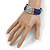 Electric Blue Glass Silver Acrylic Bead Multistrand Coiled Flex Bracelet Bangle - Adjustable - view 2