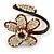 Off White Glass Bead Flower Copper Wire Flex Cuff Bracelet - Adjustable - view 3