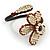 Off White Glass Bead Flower Copper Wire Flex Cuff Bracelet - Adjustable - view 4