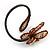 Off White Glass Bead Flower Copper Wire Flex Cuff Bracelet - Adjustable - view 5