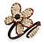 Off White Glass Bead Flower Copper Wire Flex Cuff Bracelet - Adjustable - view 6