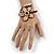 Off White Glass Bead Flower Copper Wire Flex Cuff Bracelet - Adjustable - view 2