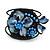 Dark Blue Shell Bead Flower Wired Flex Bracelet - Adjustable
