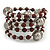 Brown Ceramic Bead with Silver Tone Wire Metal Ball Coiled Flex Bracelet - Adjustable - view 3