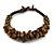Handmade Semiprecious Stone Bronze Acrylic Bead Brown Cord Bracelet - 16cm L - Small - view 3