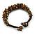 Handmade Semiprecious Stone Bronze Acrylic Bead Brown Cord Bracelet - 16cm L - Small - view 5