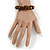 Handmade Semiprecious Stone Bronze Acrylic Bead Brown Cord Bracelet - 16cm L - Small - view 2
