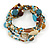 Multistrand Glass, Ceramic and Resin Beads Flex Bracelet (Light Blue, Brown, Beige) - 17cm L - view 6