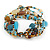 Multistrand Glass, Ceramic and Resin Beads Flex Bracelet (Light Blue, Brown, Beige) - 17cm L - view 5