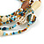 Multistrand Glass, Ceramic and Resin Beads Flex Bracelet (Light Blue, Brown, Beige) - 17cm L - view 4