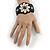 Handmade Boho Style Beaded, Shell Wristband Bracelet (Black, Grey, White) - 16cm L/ 2cm Ext - view 2