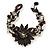 Handmade Leather Flower Semiprecious Bead Cotton Cord Bracelet (Black/ Transparent) - 15cm L - for smaller wrists