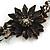 Handmade Leather Flower Semiprecious Bead Cotton Cord Bracelet (Black/ Transparent) - 15cm L - for smaller wrists - view 4