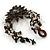 Handmade Leather Flower Semiprecious Bead Cotton Cord Bracelet (Black/ Transparent) - 15cm L - for smaller wrists - view 5