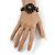Handmade Leather Flower Semiprecious Bead Cotton Cord Bracelet (Black/ Transparent) - 15cm L - for smaller wrists - view 2