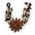 Handmade Leather Flower Semiprecious Bead Cotton Cord Bracelet (Brown/ Transparent) - 15cm L - for smaller wrists