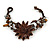Handmade Leather Flower Semiprecious Bead Cotton Cord Bracelet (Brown) - 15cm L - for smaller wrists