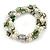 3 Strand Freshwater Pearl, Green Shell Nugget Flex Bracelet - 20cm L