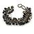 Black/ Grey Stone, Glass, Shell Cluster Bead Bracelet - 17cm L