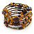 Vintage Style 'Daisy' Glass & Ceramic Bead Coil Flex Bracelet - Brown/ Bronze - Adjustable - view 3