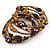 Vintage Style 'Daisy' Glass & Ceramic Bead Coil Flex Bracelet - Brown/ Bronze - Adjustable - view 4