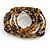 Vintage Style 'Daisy' Glass & Ceramic Bead Coil Flex Bracelet - Brown/ Bronze - Adjustable - view 5