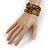 Vintage Style 'Daisy' Glass & Ceramic Bead Coil Flex Bracelet - Brown/ Bronze - Adjustable - view 2