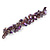 Purple/ Amethyst/ Violet Stone, Glass, Shell Cluster Bead Bracelet - 17cm L - view 3