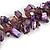 Purple/ Amethyst/ Violet Stone, Glass, Shell Cluster Bead Bracelet - 17cm L - view 4
