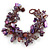 Purple/ Amethyst/ Violet Stone, Glass, Shell Cluster Bead Bracelet - 17cm L