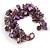 Purple/ Amethyst/ Violet Stone, Glass, Shell Cluster Bead Bracelet - 17cm L - view 5