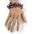 Purple/ Amethyst/ Violet Stone, Glass, Shell Cluster Bead Bracelet - 17cm L - view 2