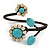 Stunning Beaded Floral Wire Cuff Bracelet - 18cm Long - Adjustable