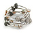 Stylish Natural Shell, Grey Semiprecious Stone, Metal Bead Multistrand Flex Bracelet - Adjustable - view 4