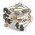 Stylish Natural Shell, Grey Semiprecious Stone, Metal Bead Multistrand Flex Bracelet - Adjustable - view 5