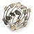 Stylish Natural Shell, Grey Semiprecious Stone, Metal Bead Multistrand Flex Bracelet - Adjustable - view 6