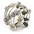 Stylish Natural Shell, Grey Semiprecious Stone, Metal Bead Multistrand Flex Bracelet - Adjustable