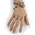 Stylish Natural Shell, Grey Semiprecious Stone, Metal Bead Multistrand Flex Bracelet - Adjustable - view 3