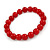 10mm Red Acrylic Single Strand Bead Flex Bracelet - 18cm L