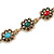 Vintage Inspired Turkish Style Crystal, Acrylic Bracelet In Aged Gold Tone (Green, Light Blue, Red) - 17cm L - view 3